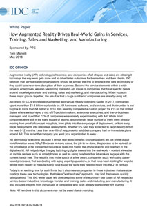How Augmented Reality Drives Real-World Gains in Services, Training, Sales and Marketing, and Manufacturing
